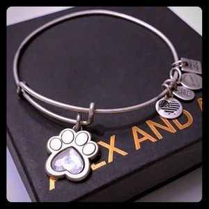 Alex and Ani dog paw with gem bangle bracelet